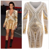 Cheap Fashion V Neck Long Sleeves 3 D Gold Print White Sheath Mini Dress