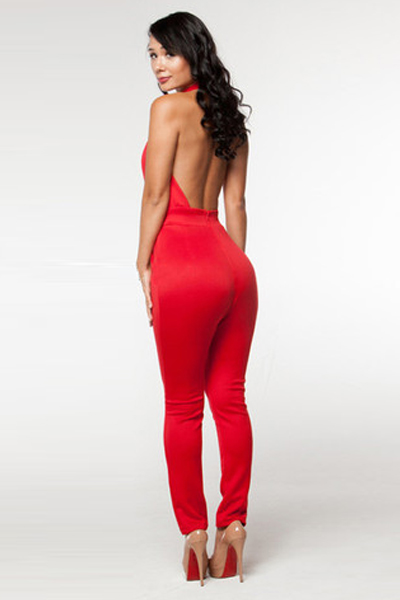 Cheap Sexy Sleeveless Backless Cut-out Solid Red Polyester One ...