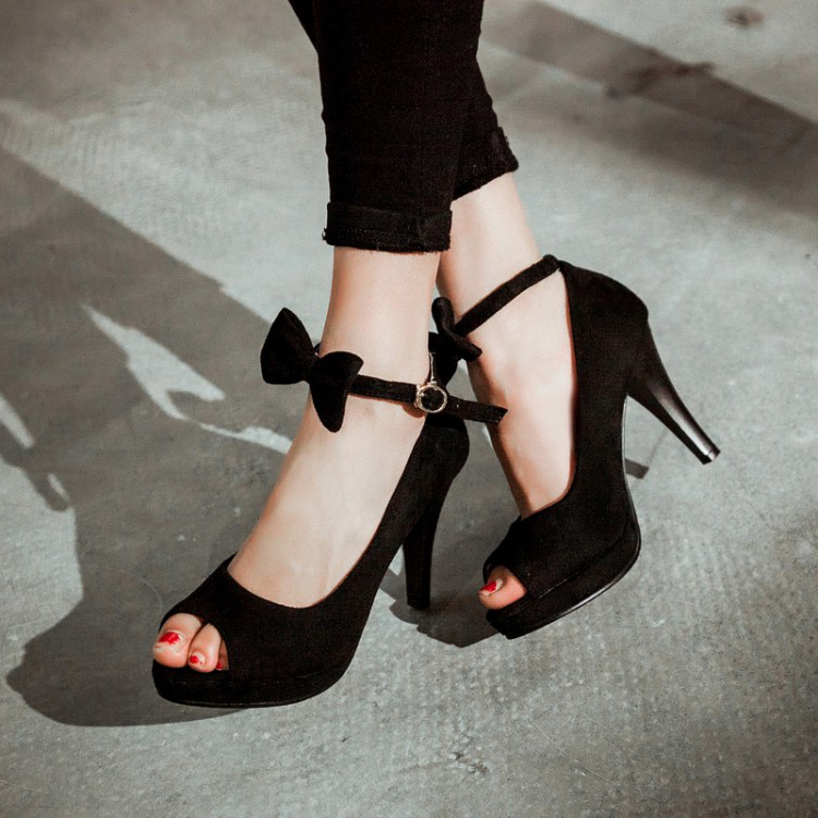 Black High Heel Shoes With Ankle Strap