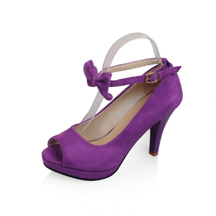 Cheap Vintage Peep Toe Stiletto Super High Heel Purple Suede Ankle ...