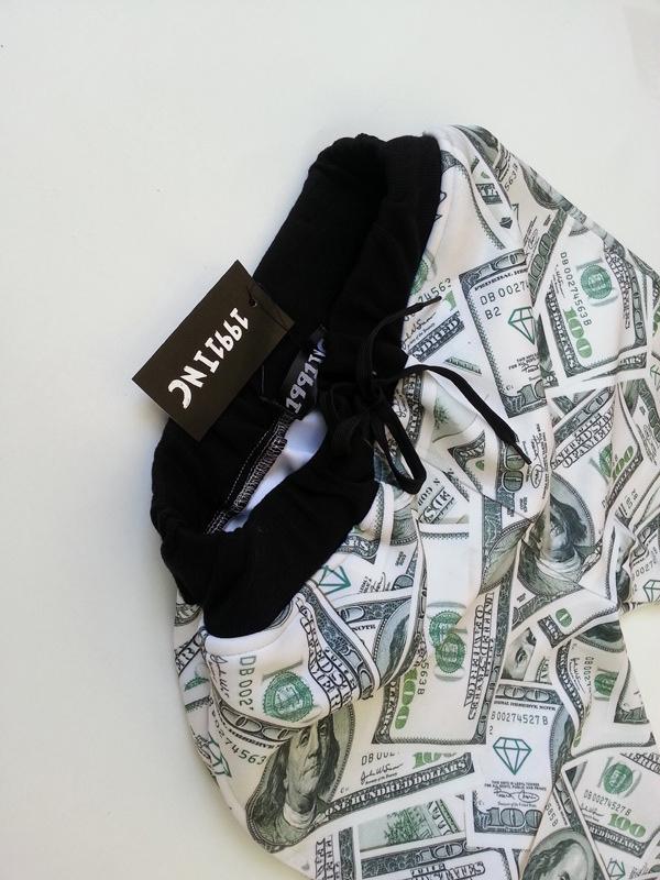 Cheap Casual Mid Waist Drawstring Tied US Dollars Print Spandex Regular Pants