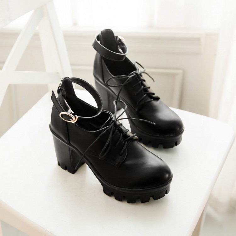 Cheap Fashion  Round Closed Toe Lace-up Chunky High Heels Black PU Pumps