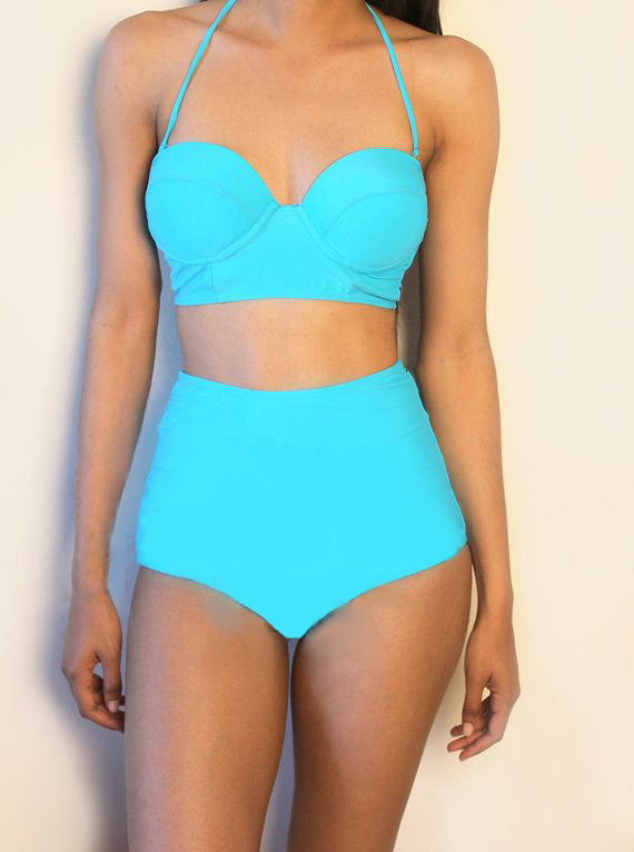 Cheap Sexy Halter Neck High Waist Solid Blue Two-piece ...