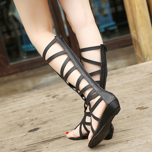 Fashion Clip Toe Hollow-out Flat Low Heel Black PU Gladiator