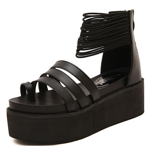cheap fashion wedge high heel black pu ankle sandals