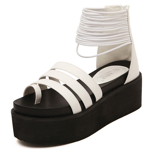 cheap fashion wedge high heel white pu ankle sandals