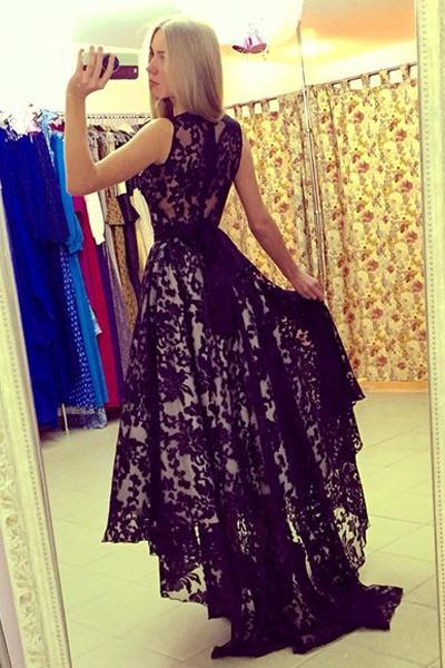 Fashion O Neck Tank Sleeveless Waist skirt Lace Ankle Length Dresses
