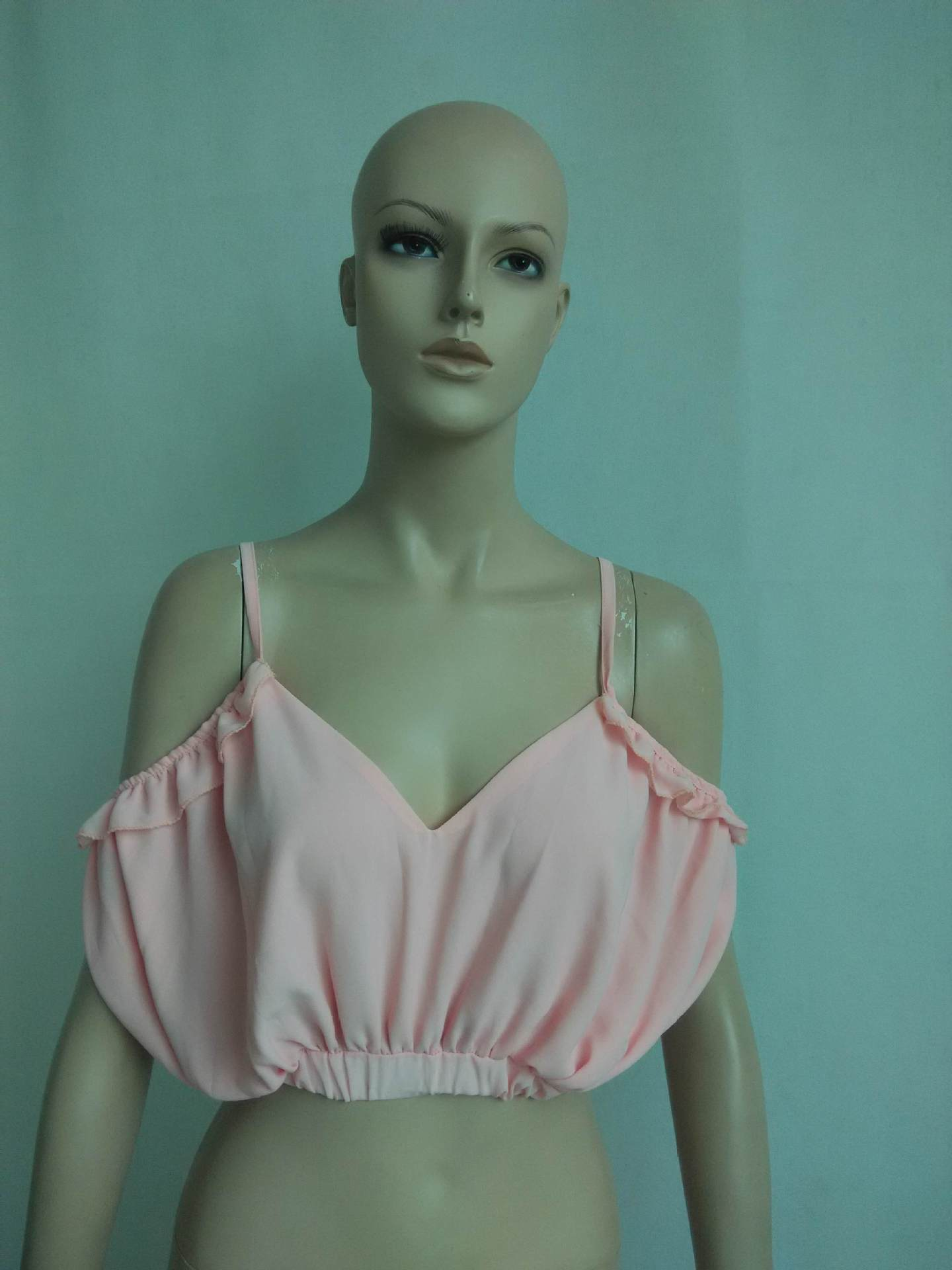 Cheap Sexy V Neck Spaghetti Strap Off The Shoulder Sleeveless Solid Pink Chiffon Shirt