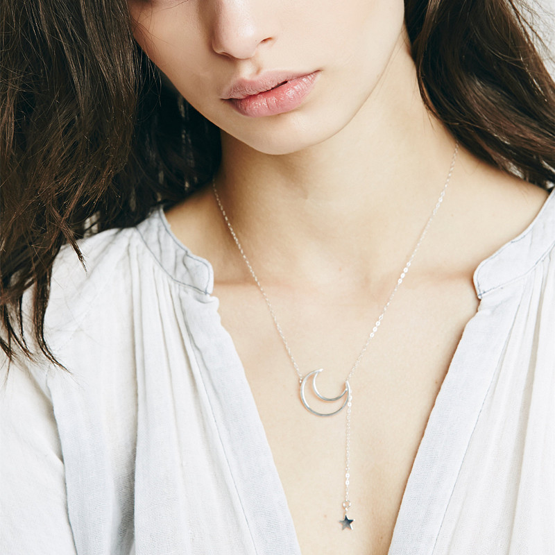 Cheap Fashion Moon and Star Shaped Silver Metal Necklace