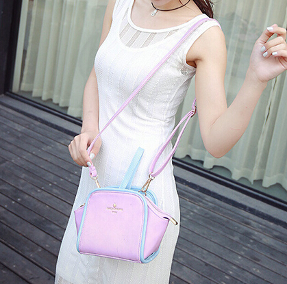 Cheap Women Fashion Zipper Design Patchwork Pink PU Slanting Bag