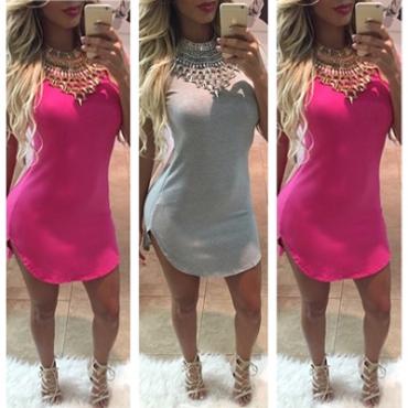 Manera barata O cuello manga corta rosa mezcla Mini vestido