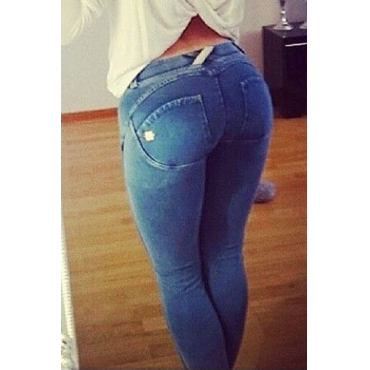 Casual Button Fly Design Solid Blue Denim Skinny Pants