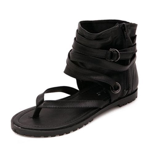 Случайный клип ног плоский низкий каблук черный PU сандалии