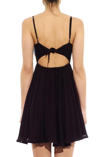 pas cher sexy col en v patchwork une paule sans manches noir mini femmes dress dresses. Black Bedroom Furniture Sets. Home Design Ideas