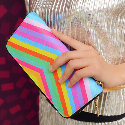 Cheap Women Fashion Zipper Design Patchwork Colorful PU Wallet