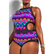 Cheap Fashion Patchwork Print Side Cut-out One Piece Swimsuit