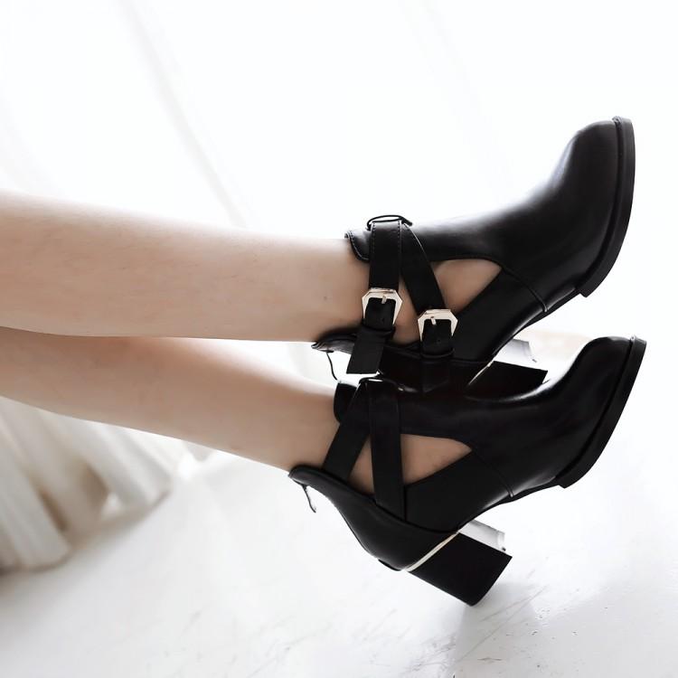 Fashion Pointed Closed Toe Buckle Design Chunky Mid Heel Black PU Basic Pumps
