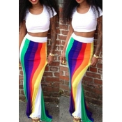 Fashion Bohemian Patchwork  Skirt Striped O neck Short Sleeves Cotton Blend Two-piece Outfits