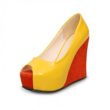 Fashion  Round  Peep Toe Super High Wedges Yellow PU Pumps