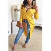 Sexy V Neck Long Sleeves Front Crossed Asymmetrical Yellow Cotton Blend Mini Dress