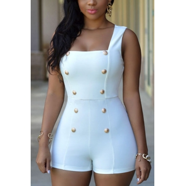 Fashion Square Neck Sleeveless Gold Buttons Decorated Solid White Polyester One-piece Skinny Jumpsuit