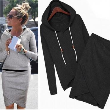 Casual langen Ärmeln schwarz Blending zweiteilige regelmäßigen Pullover Kapuzen-Sweat -Set