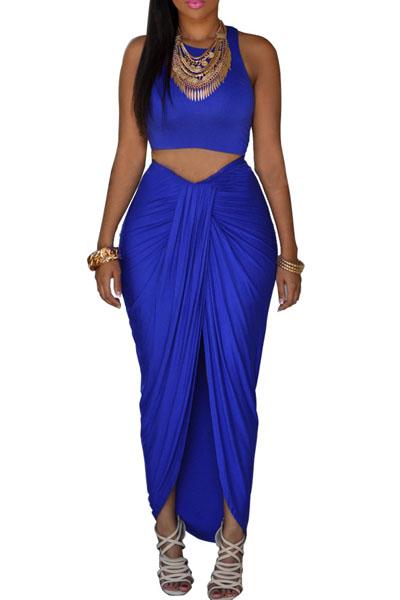O la moda sin mangas de cuello cortinas diseño sólido azul de ...