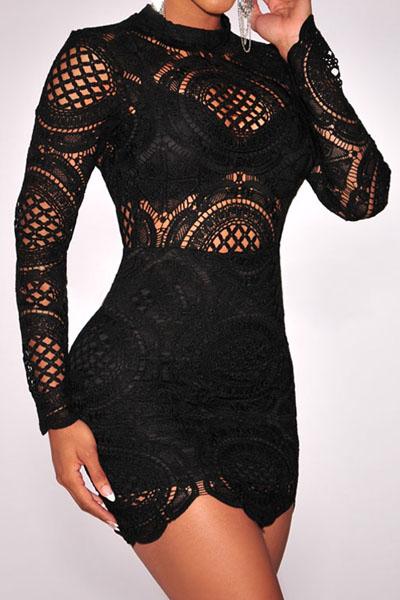 Turtleneck lace mini dress