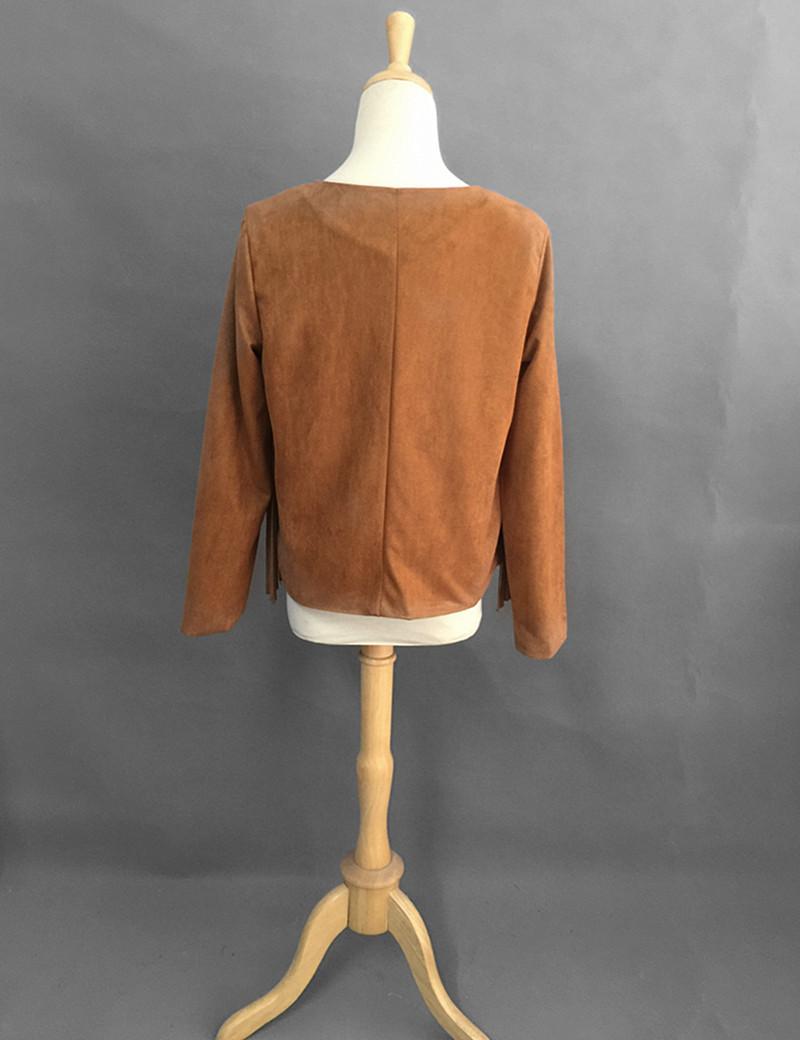 Fashion O Neck Long Sleeves Front Tassel Design Brown Regular Coat