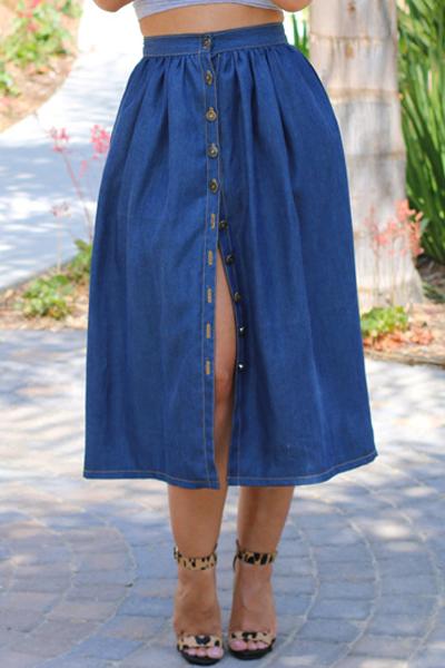 Fashion Solid Blue Jean A Line Knee Length ...