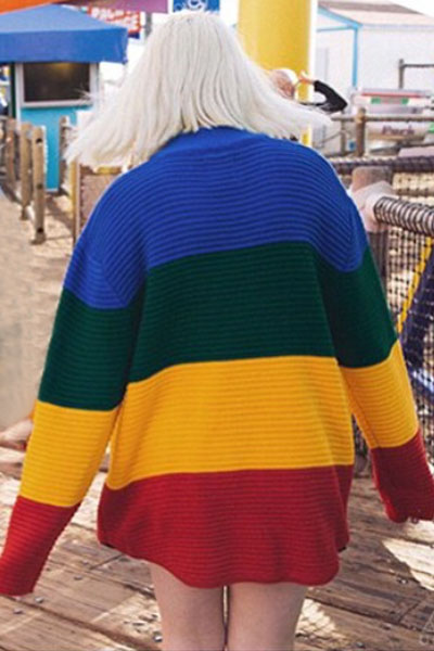 Fashion O Neck Long Sleeves Patchwork Rainbow Spandex Oversized Pullover Sweater