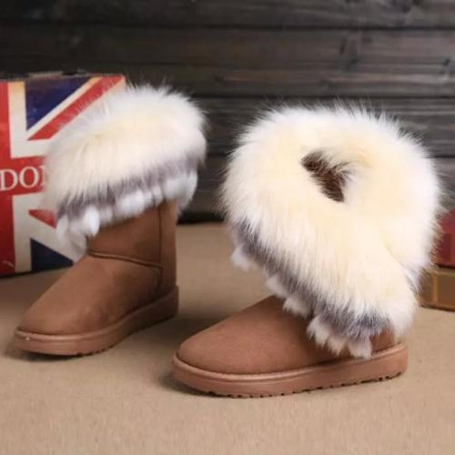Winter Fashion Round Toe Feathers Decorated Slip-on Flat Low Heel Khaki PU Mid Calf Snow Boots