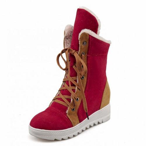 Inverno rodada toe rendas até flat low heel vermelho botas de neve PU tornozelo
