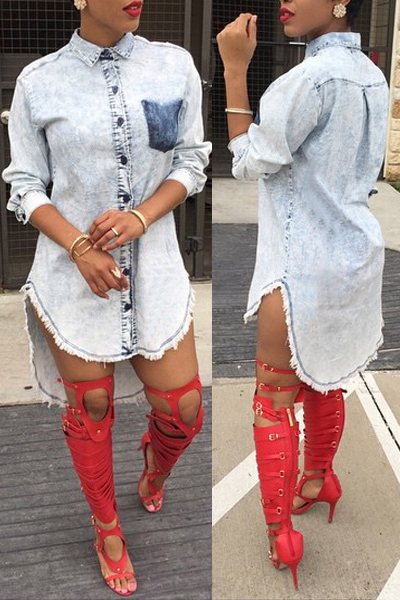 Стильный отложным воротником Длинные рукава однобортный Асимметричный синий Denim линия Мини-платье рубашка