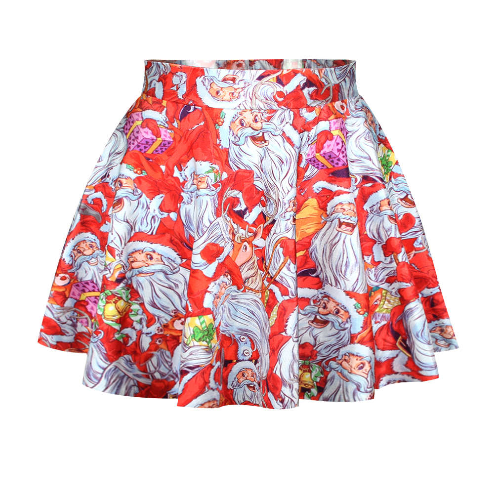 Fashion Cute Santa Claus Print Red Polyester Mini Skirt_Skirts_Bottoms_LovelyWholesale ...