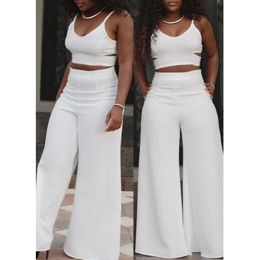 Sexy V Neck Spaghetti Strap Sleeveless Hollow-out White Polyester Two-piece Pants Set
