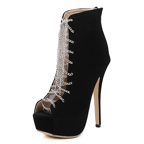 Fashion Round Peep Toe Lace-up Stiletto Super High Heel Black PU Basic Pumps