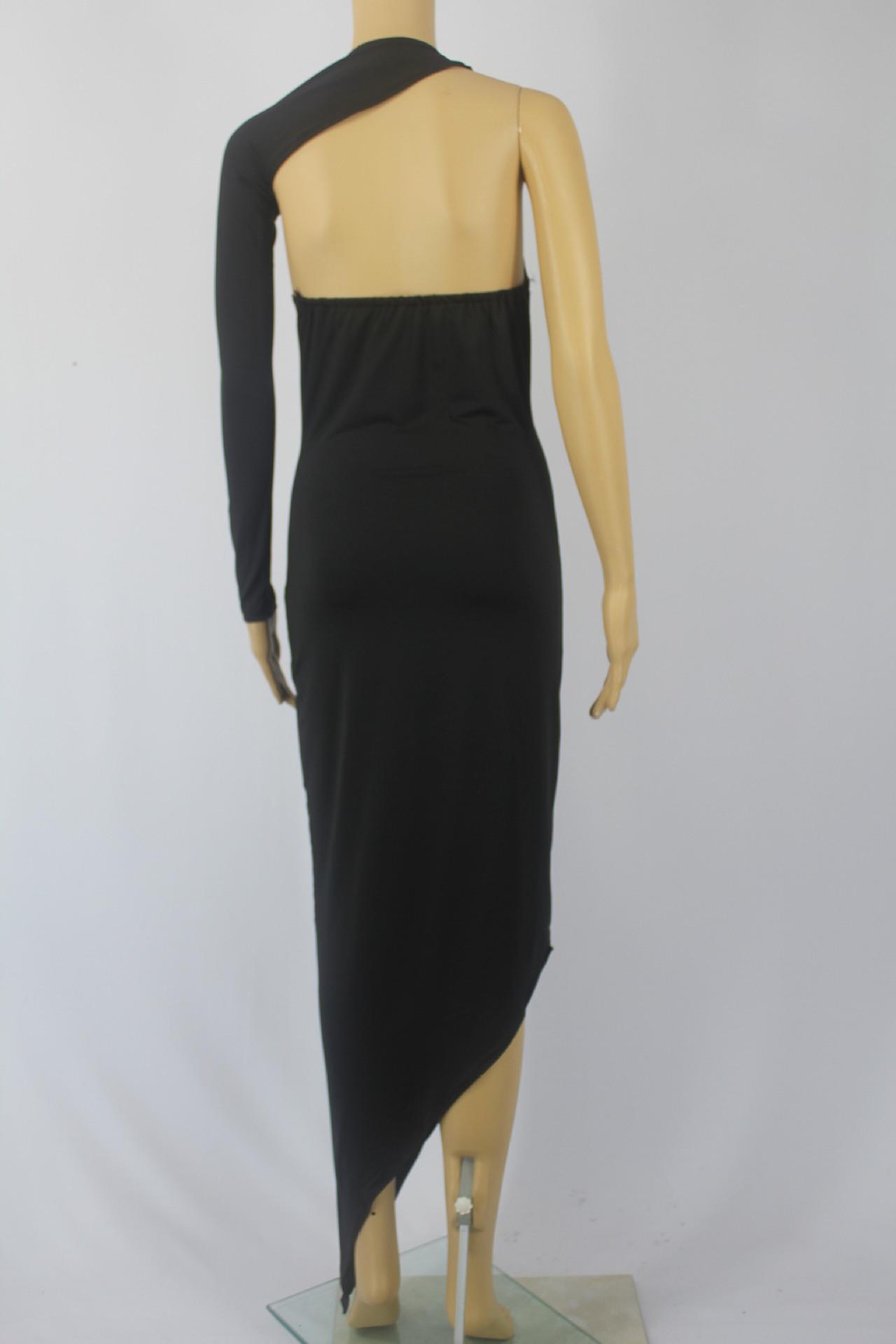 sleeves backless asymmetrical black polyester