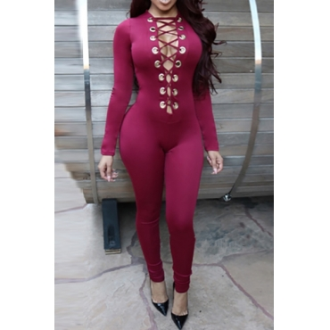 Sexy Long Sleeves Front Lace-up Hollow-out Wine Red Polyester One-piece Skinny Jumpsuit