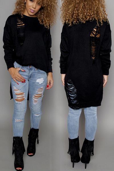 Fashion O Neck Long Sleeves Broken Holes Design Asymmetrical Black Acrylic Regular Pullover