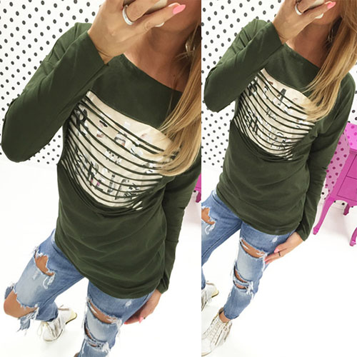 casual o neck manches longues bronzing imprimer patchwork army green polyester t shirt t shirt. Black Bedroom Furniture Sets. Home Design Ideas
