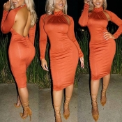 Sexy Turtleneck Long Sleeves Backless Orange Polyester Sheath Knee Length Dress