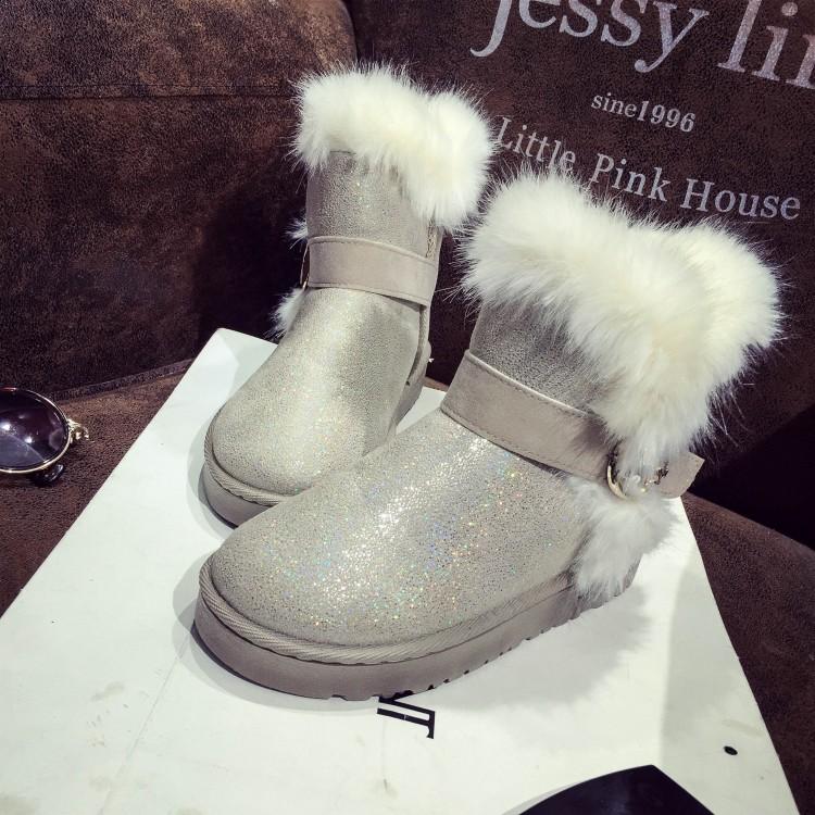 зимней моды раунд скольжения пальца ноги пряжки ремень плоский каблук низкий бежевый PU короткий снегоступы