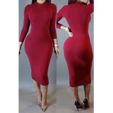 Fashion Turtleneck Long Sleeves Date Red Blending Sheath Knee Length Dress