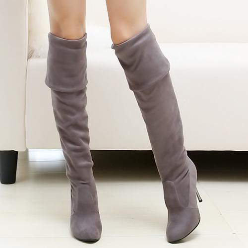 Winter Fashion Round Toe Slip on Stiletto High Heel Grey Suede Over the Knee Cavalier Boots
