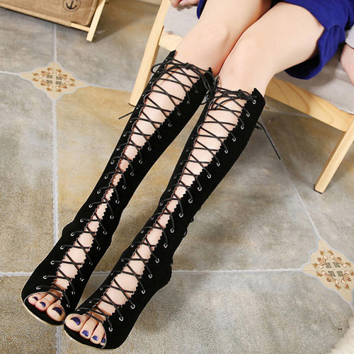 Spring Autumn Round Peep Toe  Zipper Design  Lace Up Stiletto Super High Heel Black Suede Knee High Sandals