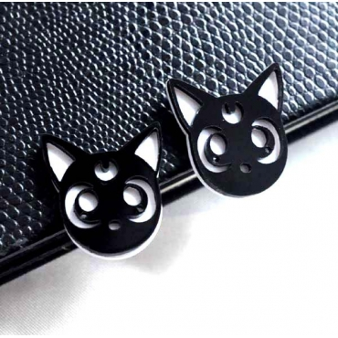 Fashion Cat Shaped Black Metal Earring