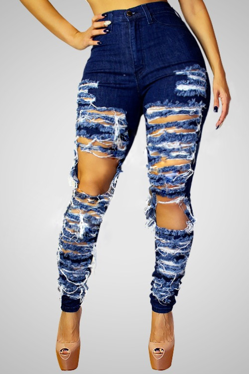 Stylish High-Waisted Hollow-out Design Blue Denim ...