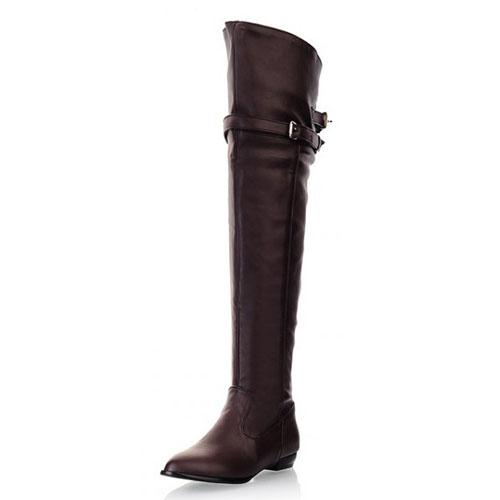 Зима Круглый Носок поскользнуться на Пряжка Украшенная Плоский низкий пятки Браун PU над коленом Cavalier Boots