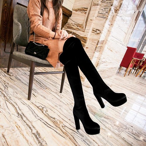 Winter Fashion Round Toe Slip On Chunky Super High Heel Black Suede Knee High Martens Boots